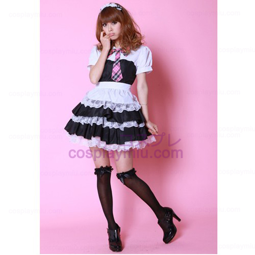 Black and White Bowknot Short Κοστούμια Maid μανίκι Cosplay