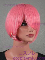 "12 ""Candy Pink Cotton Straight Περούκα Cosplay Bob"